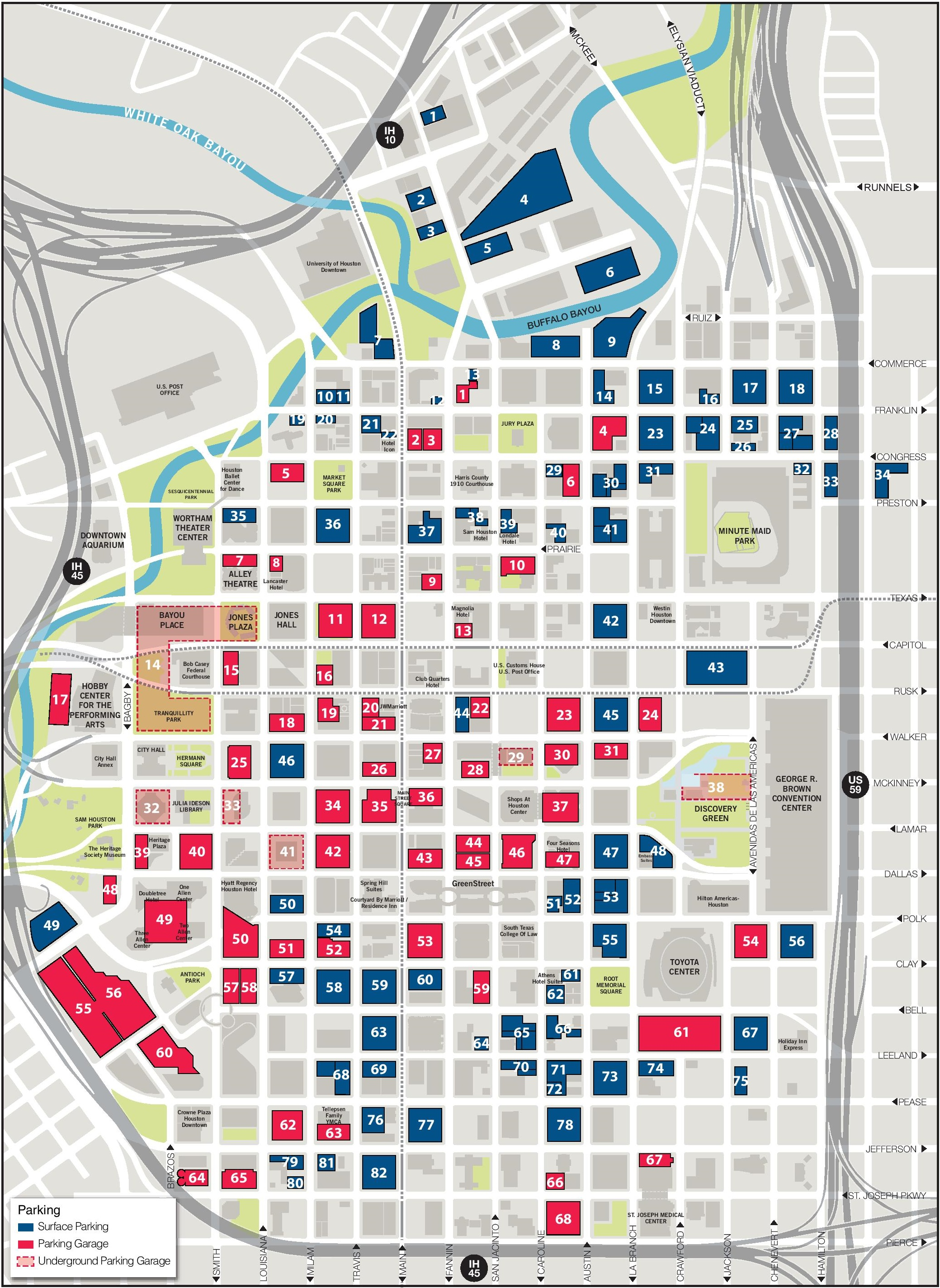 Houston Downtown Parking Map - Printable map of houston