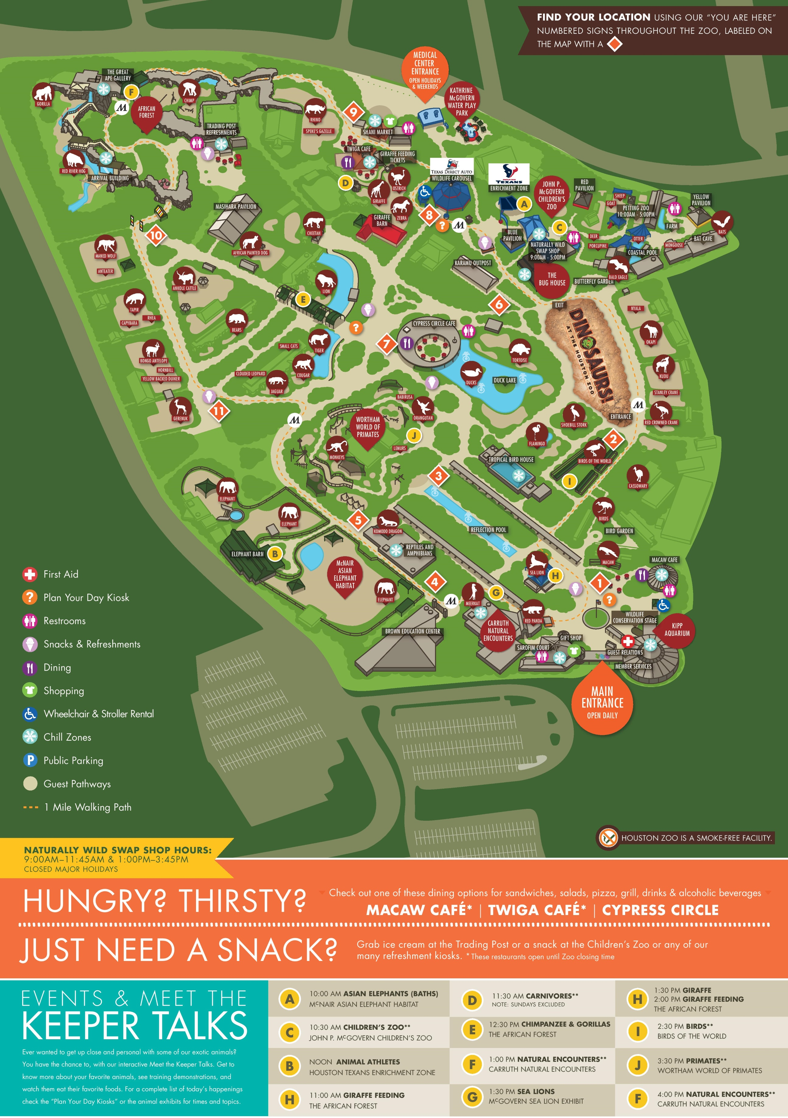 Houston Zoo map – Tourist Attractions Map In Houston Texas