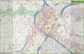 Large detailed street map of Houston