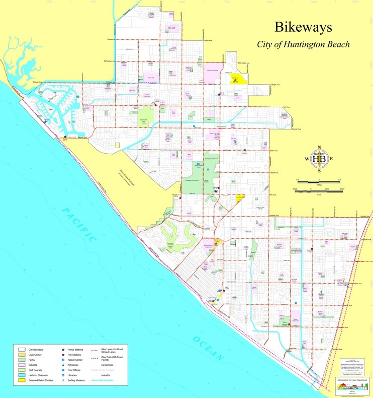 Huntington Beach bike map