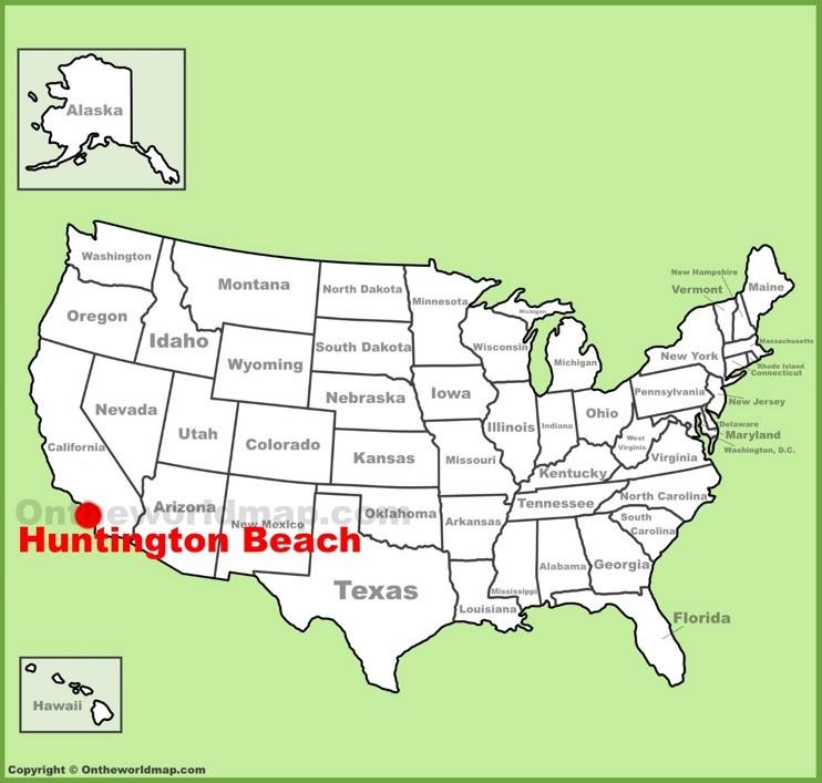 Huntington Beach location on the U.S. Map