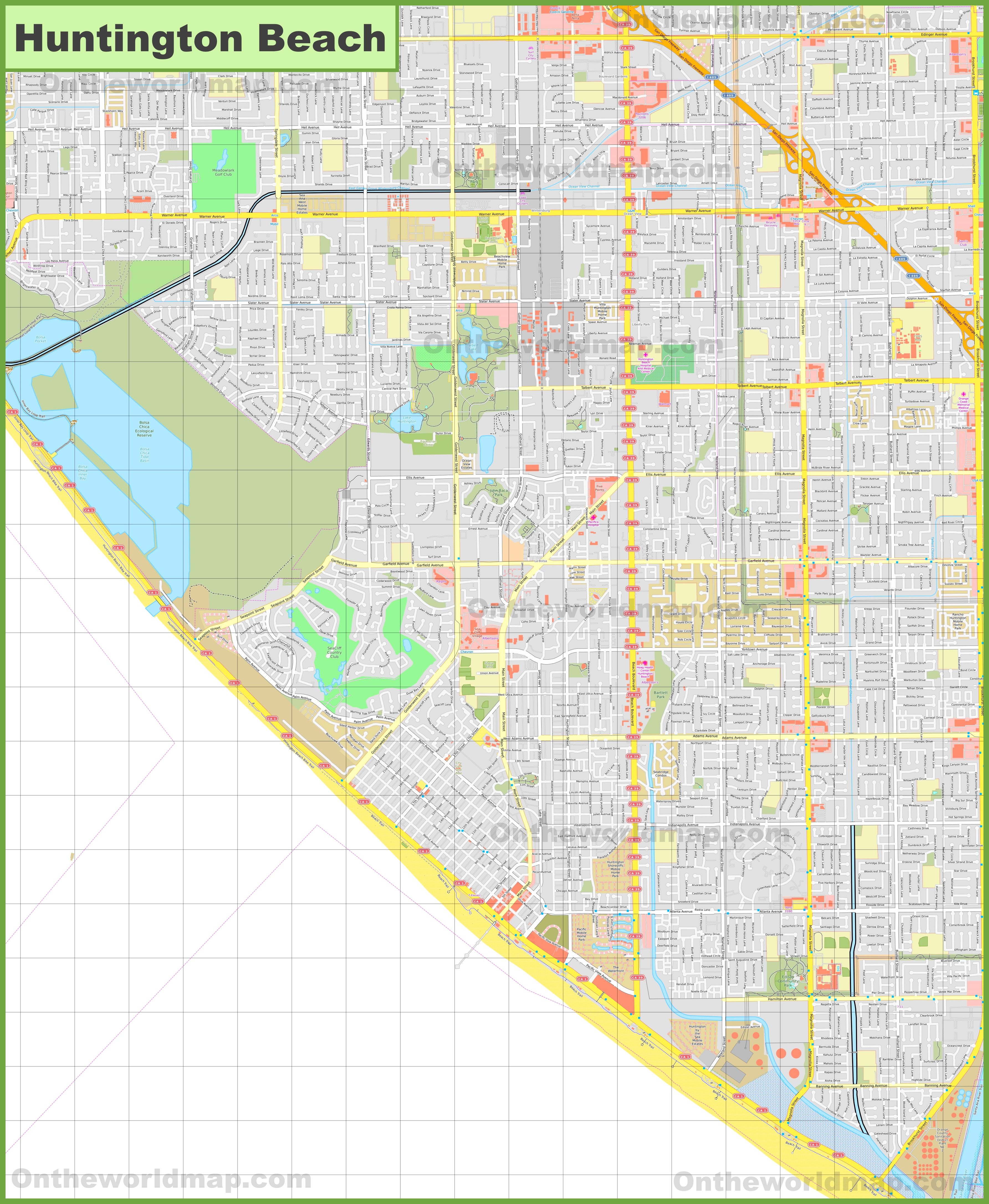 Large detailed map of Huntington Beach