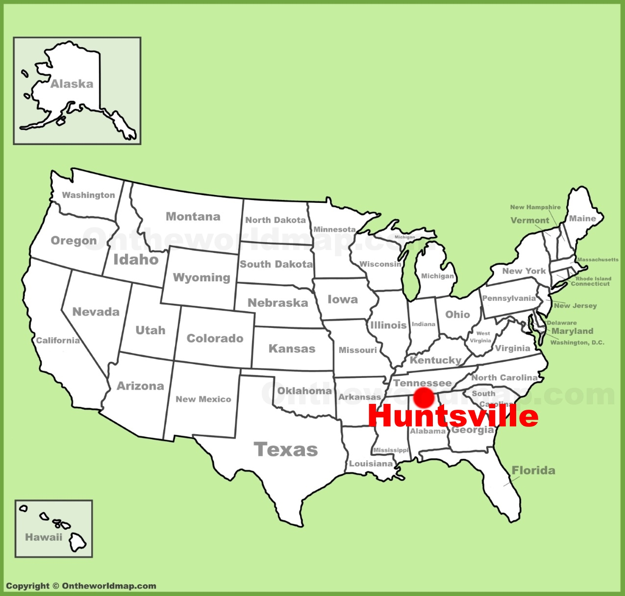 Huntsville location on the US Map