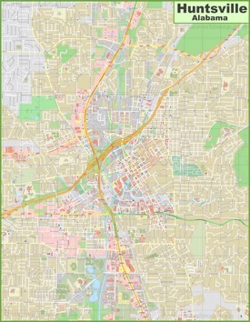 Large detailed map of Huntsville