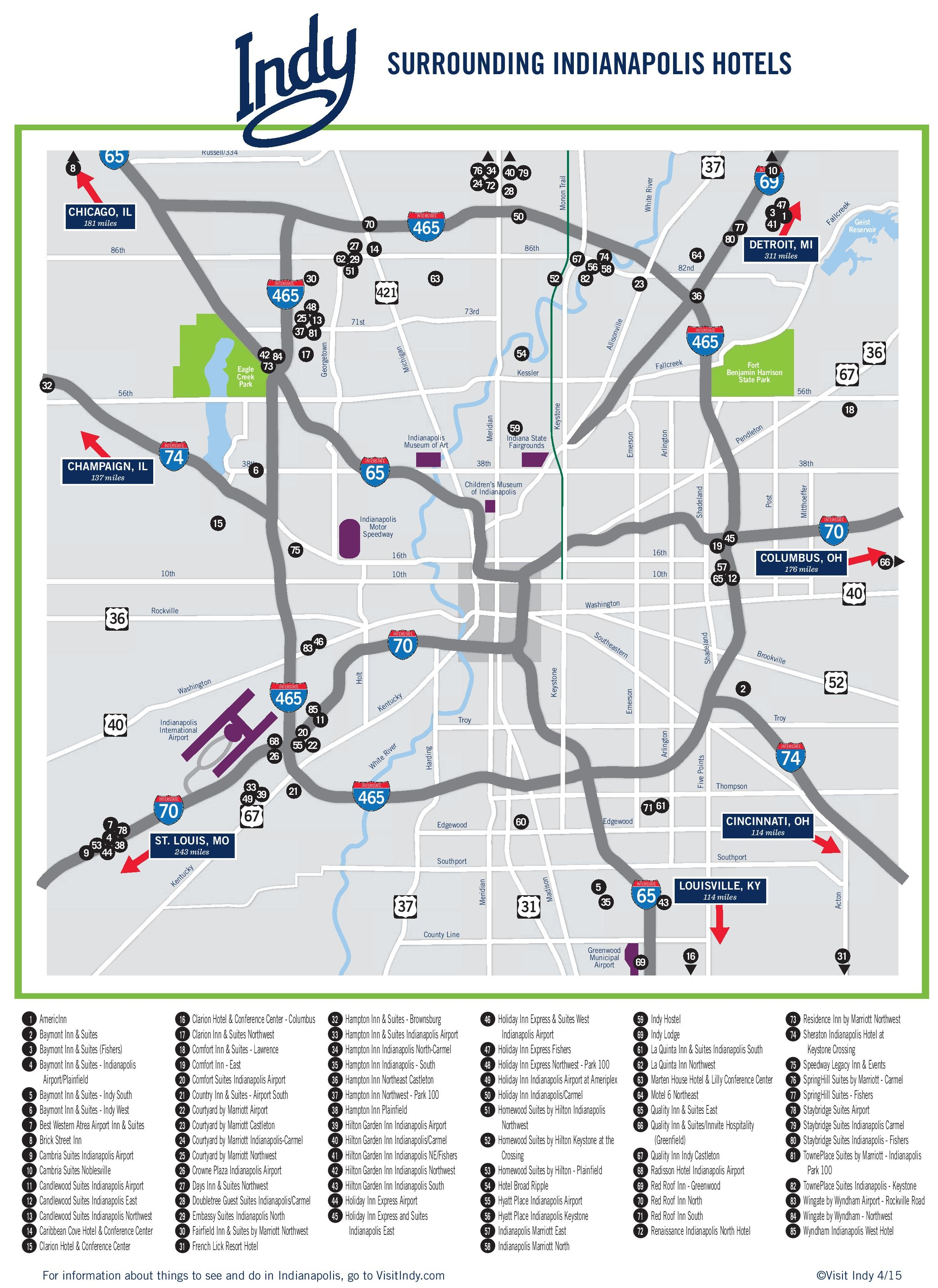 Indianapolis Area Hotel Map