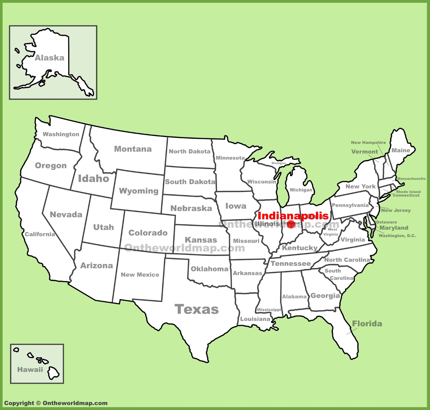 Map Of Indianapolis Indiana Indianapolis location on the U.S. Map