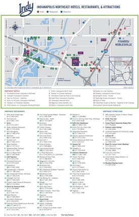 NorthEast Indianapolis hotels and sightseeings map