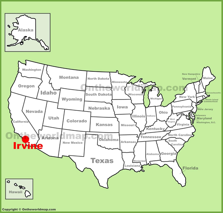 Irvine location on the U.S. Map