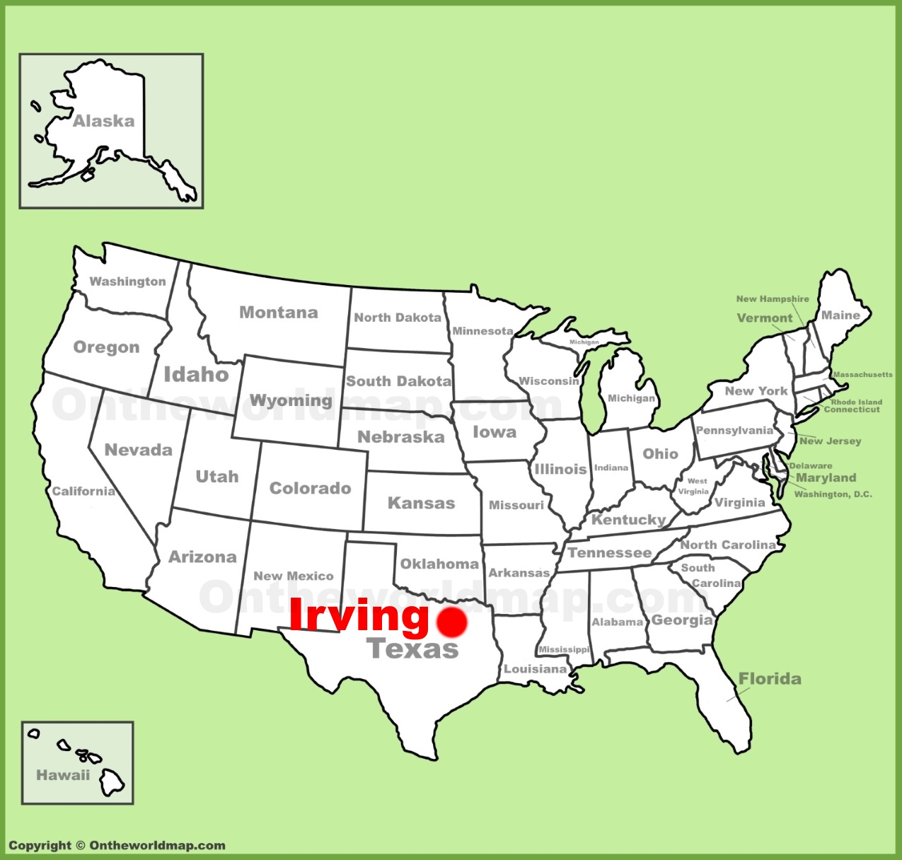 Irving location on the US Map