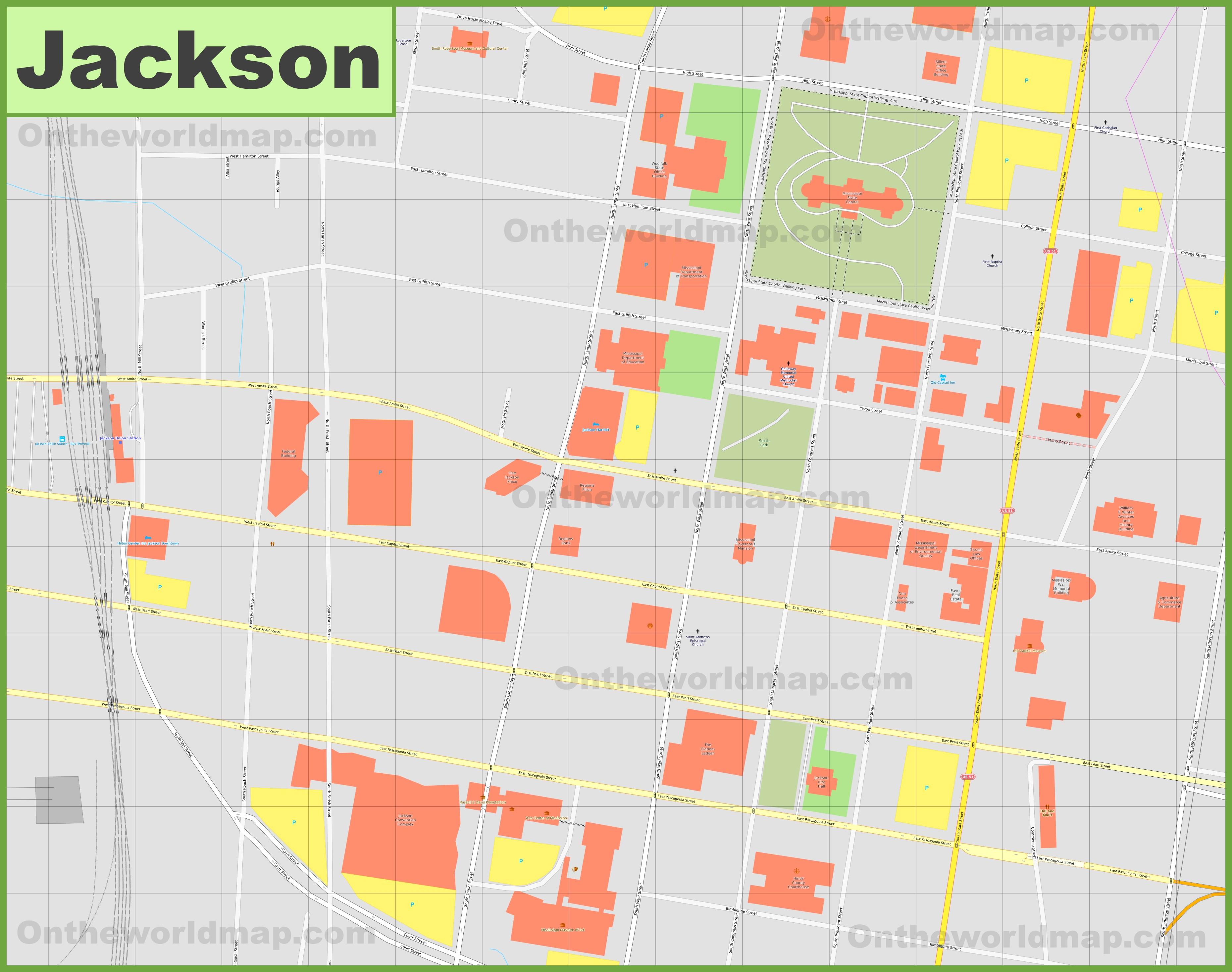 Jackson downtown map