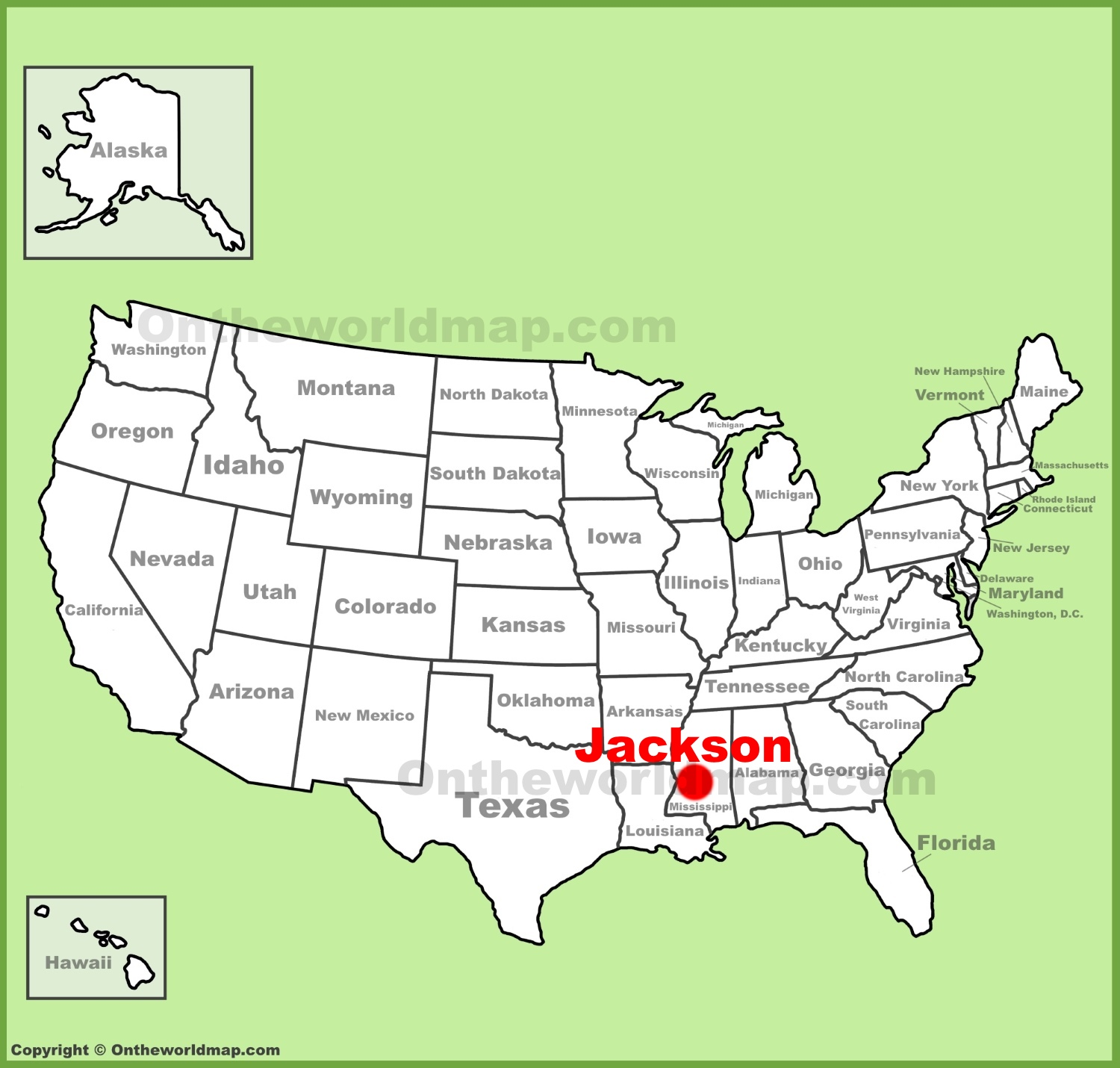 Jackson location on the US Map