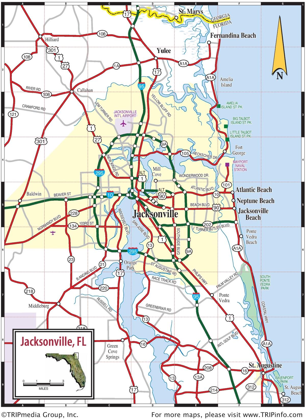 jacksonville area road map. Black Bedroom Furniture Sets. Home Design Ideas
