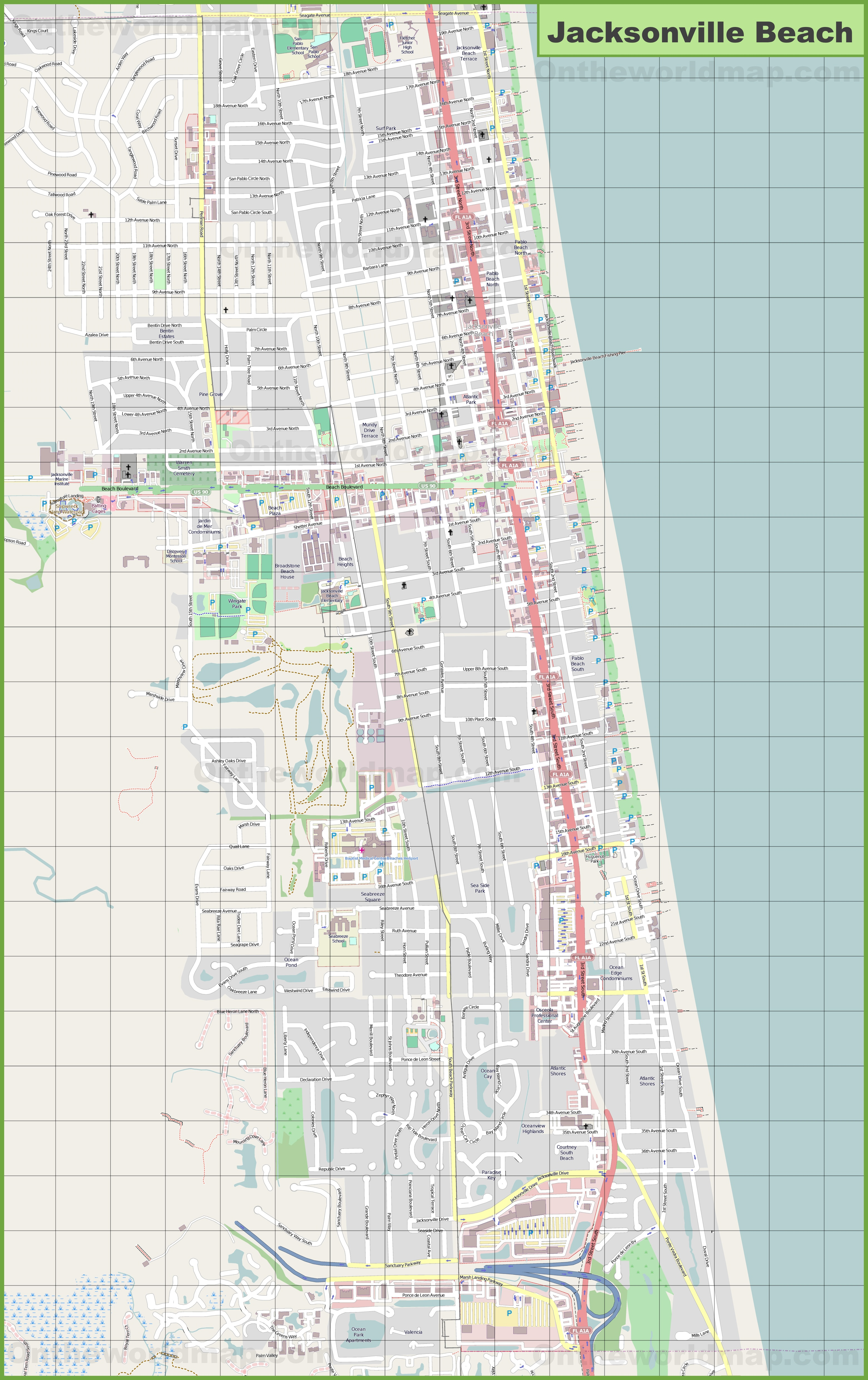 Map Of Jacksonville Beach Florida Jacksonville Beach map