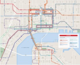 Jacksonville downtown transport map