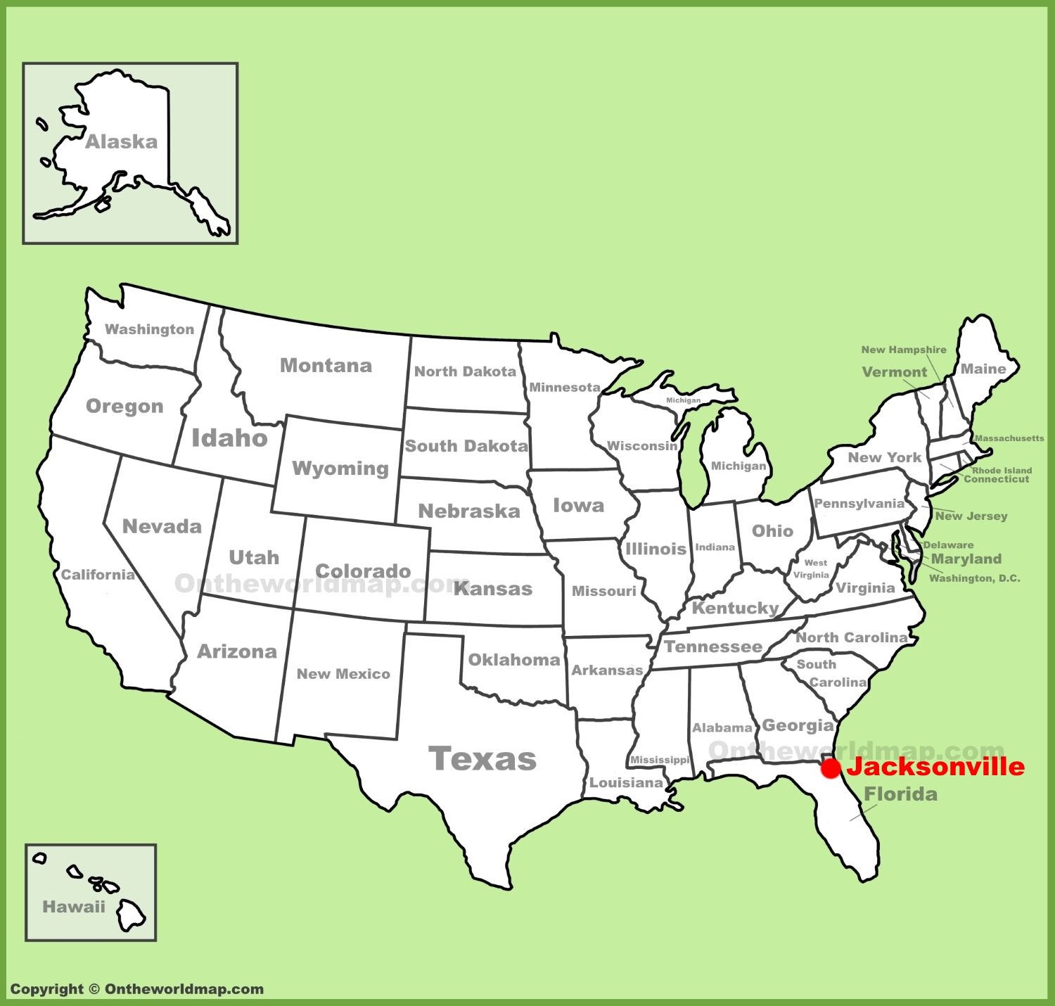 Jacksonville location on the US Map
