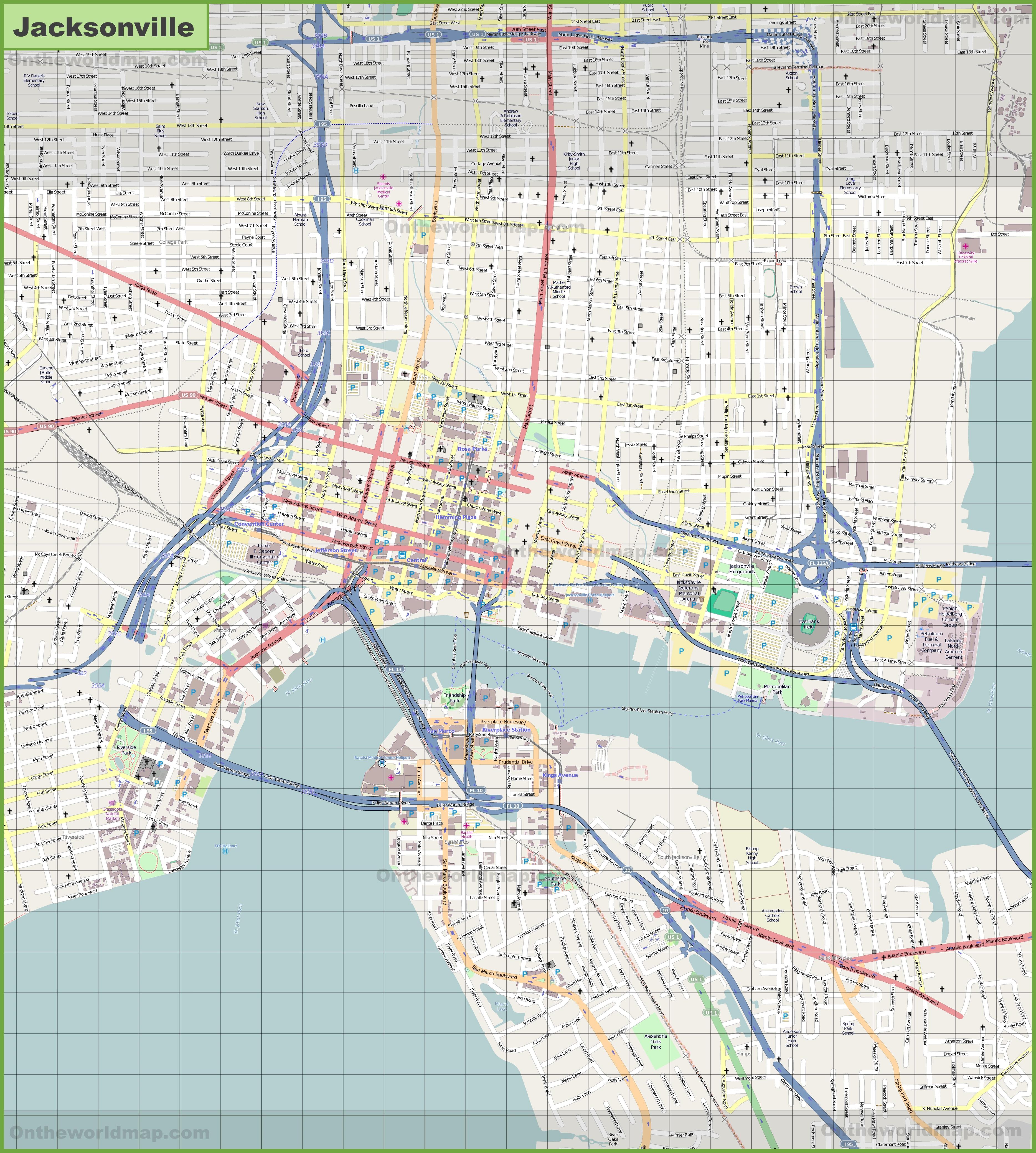 large detailed map of jacksonville. Black Bedroom Furniture Sets. Home Design Ideas