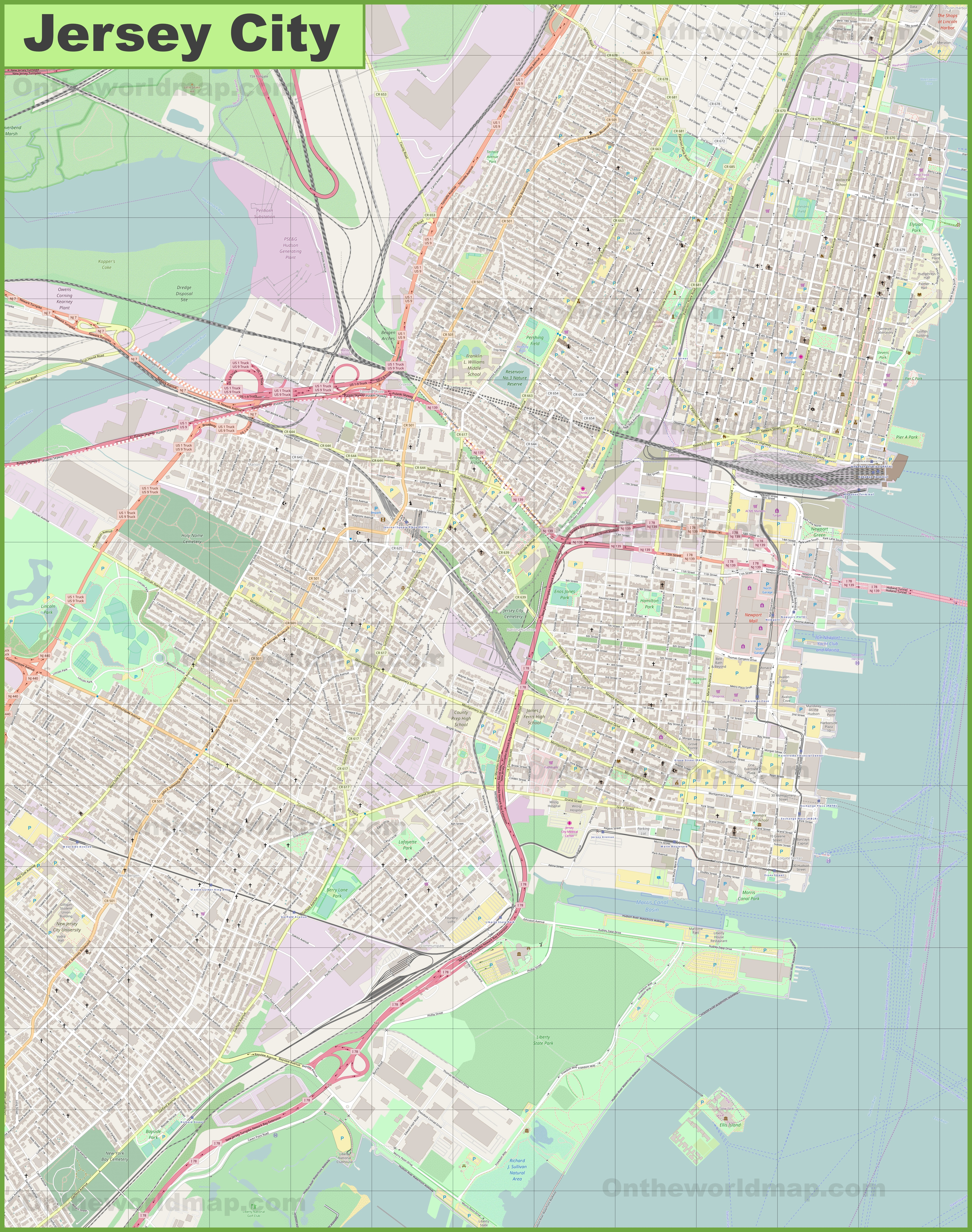 Large detailed map of Jersey City