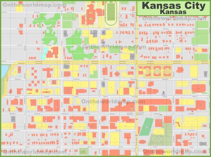 Kansas City (Kansas) downtown map