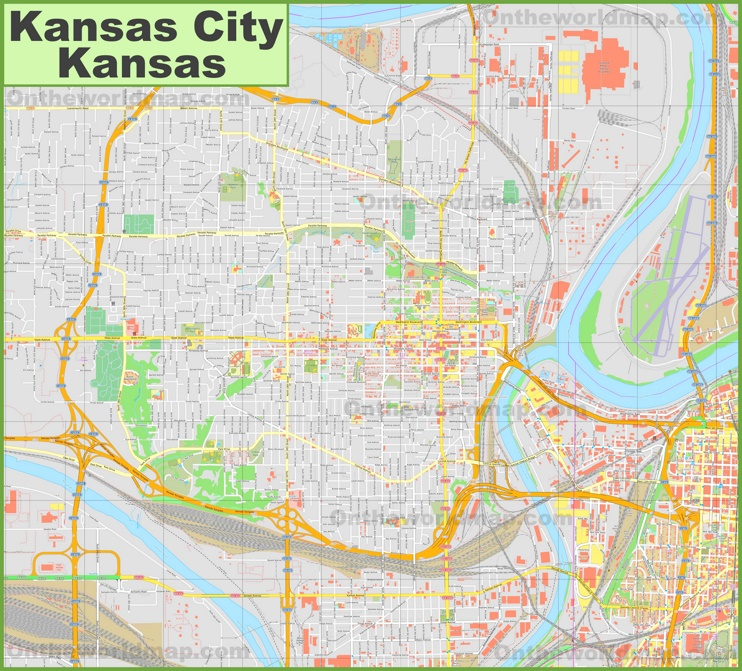 Large detailed map of Kansas City (Kansas)