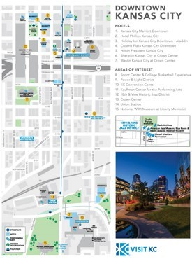 Kansas City hotels and sightseeings map