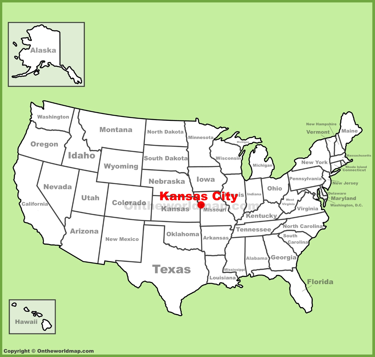 Kansas City location on the U.S. Map