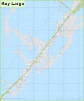 Large detailed map of Key Largo