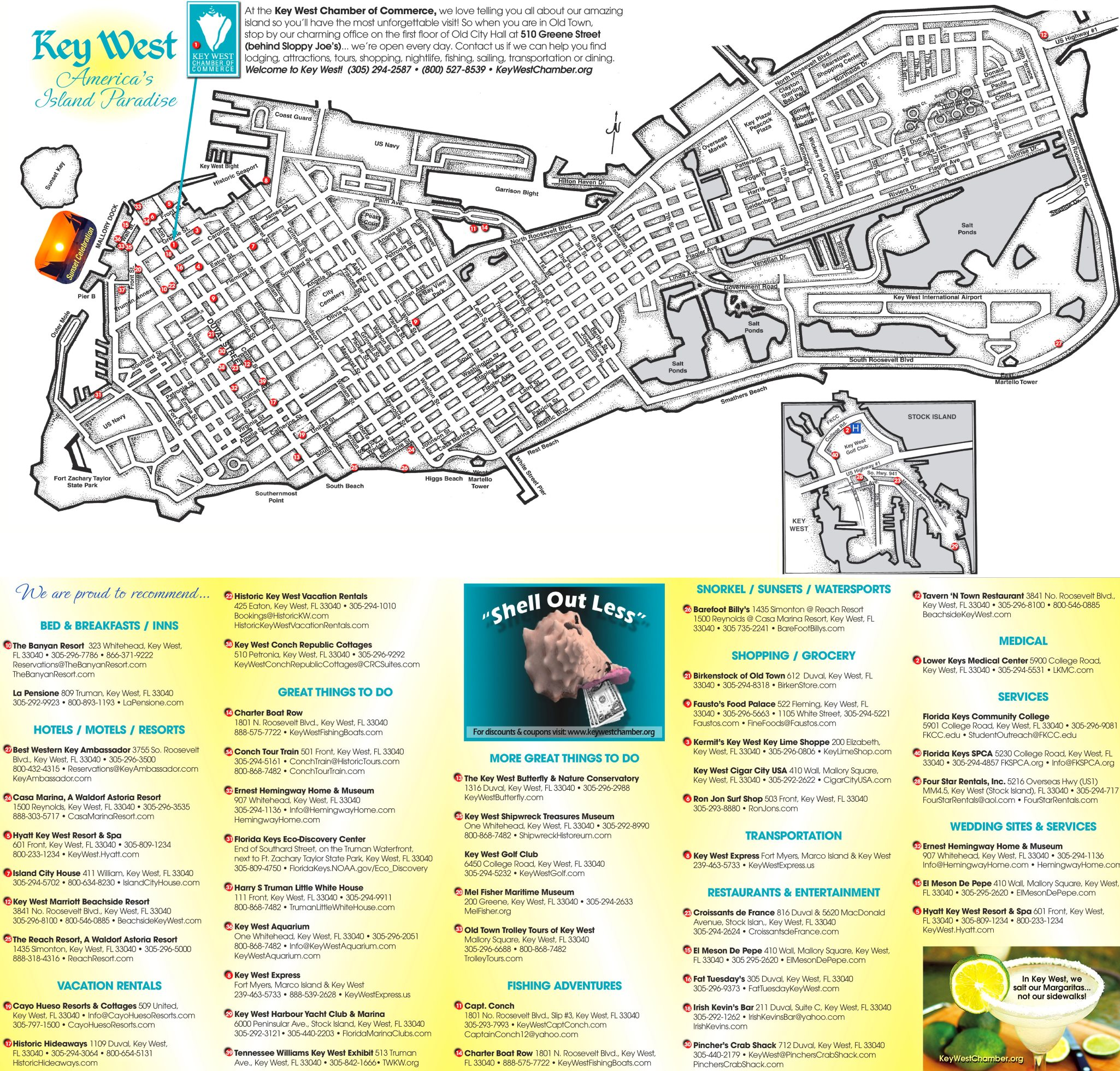Hotel Map Of Key West Florida Key West hotels and sightseeings map