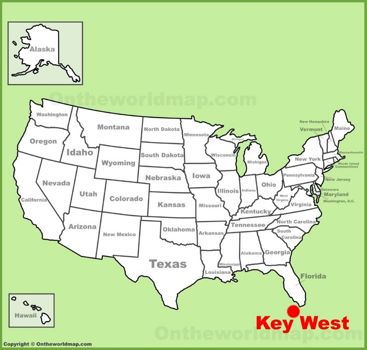 Key West location on the U.S. Map