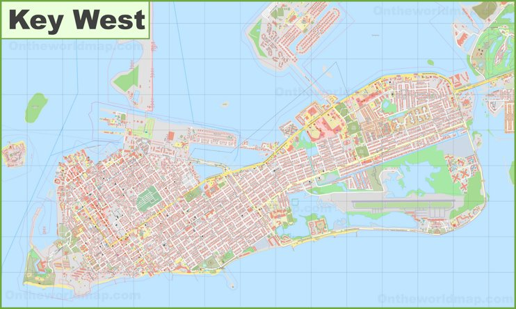 Large detailed map of Key West