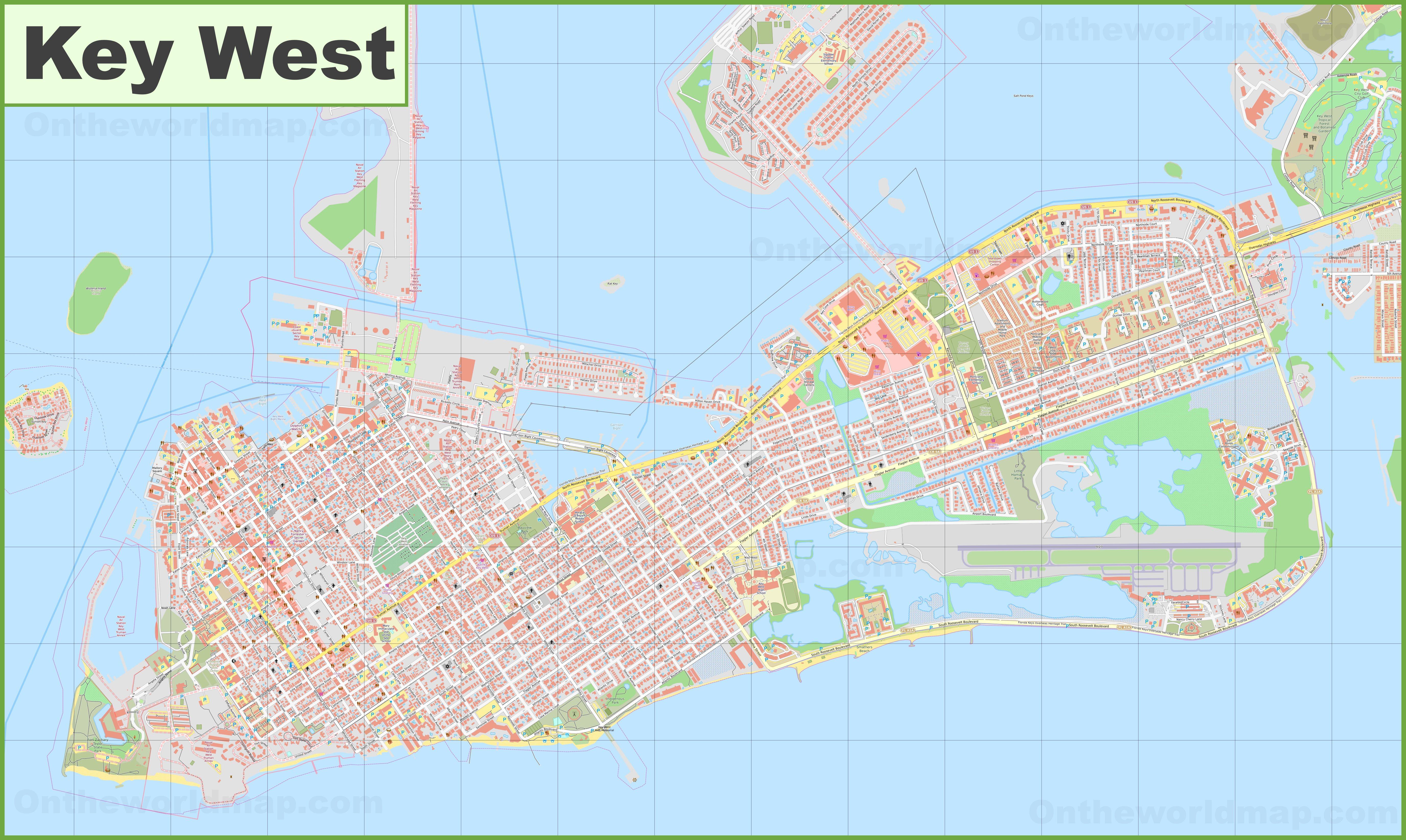 Large detailed map of Key West on orlando map, tampa map, florida map, monroe county map, broward county map, california map, chicago map, cape kennedy map, siesta key map, hawaii map, grand cayman map, new york city map, palm beach county map, marathon keys map, texas map, big coppitt key map, freeport bahamas map, fl keys map, boston map, georgia map,
