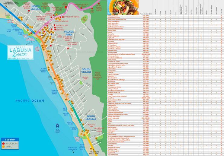 Laguna Beach Dining Map
