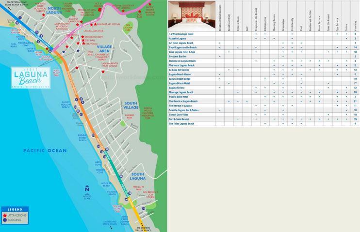 Laguna Beach Hotels And Sightseeings Map