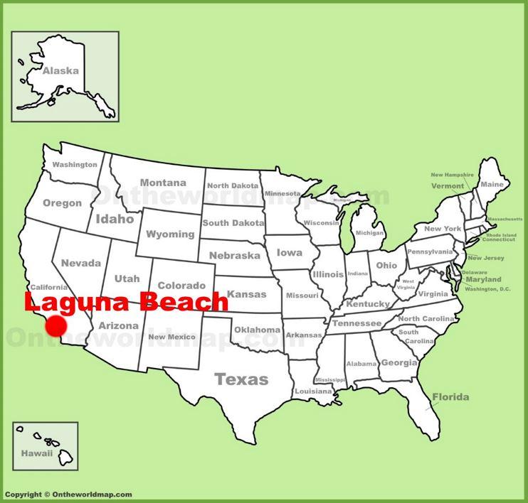 Laguna Beach location on the U.S. Map