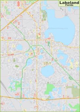 Large detailed map of Lakeland
