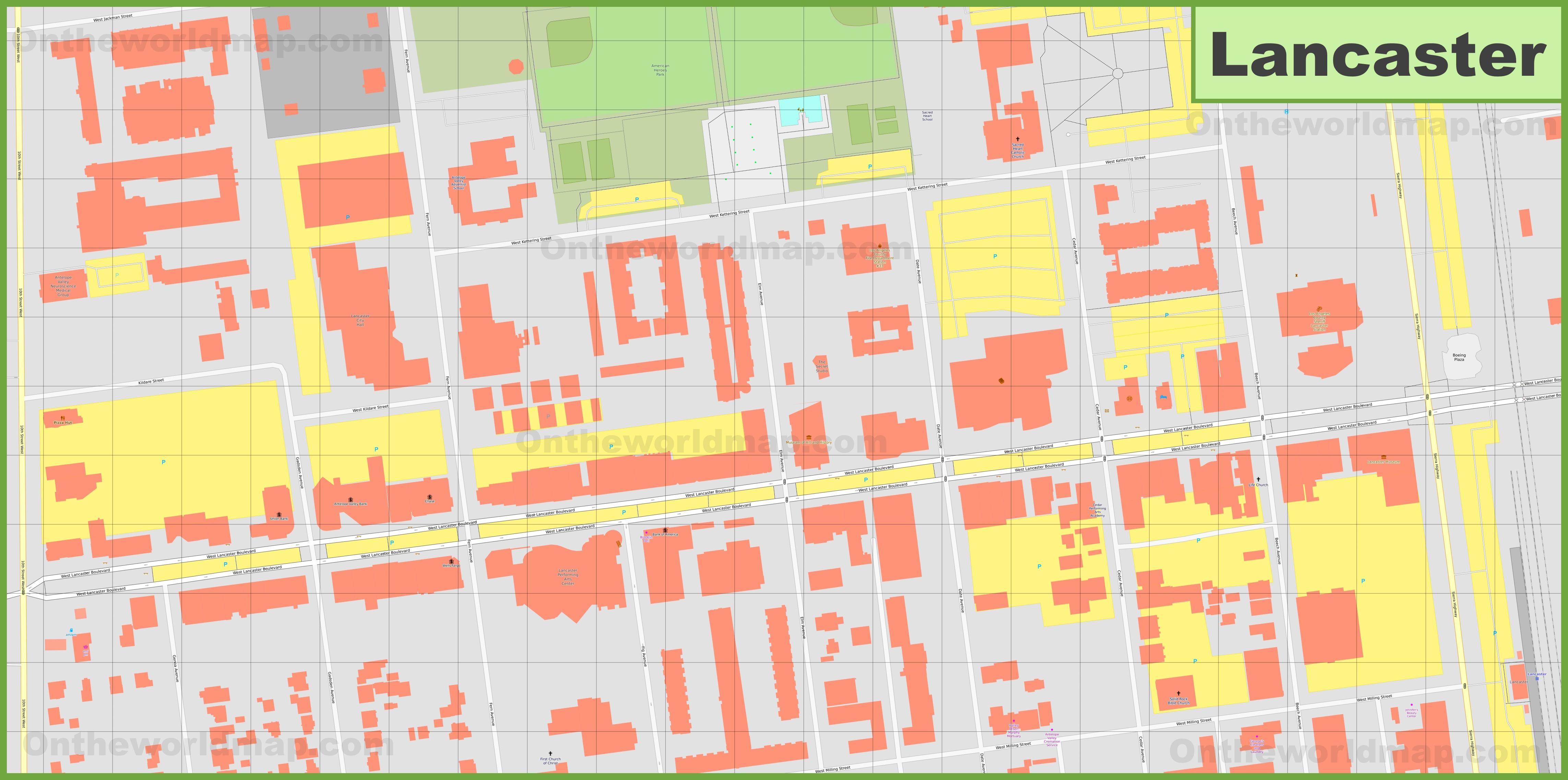 Lancaster downtown map