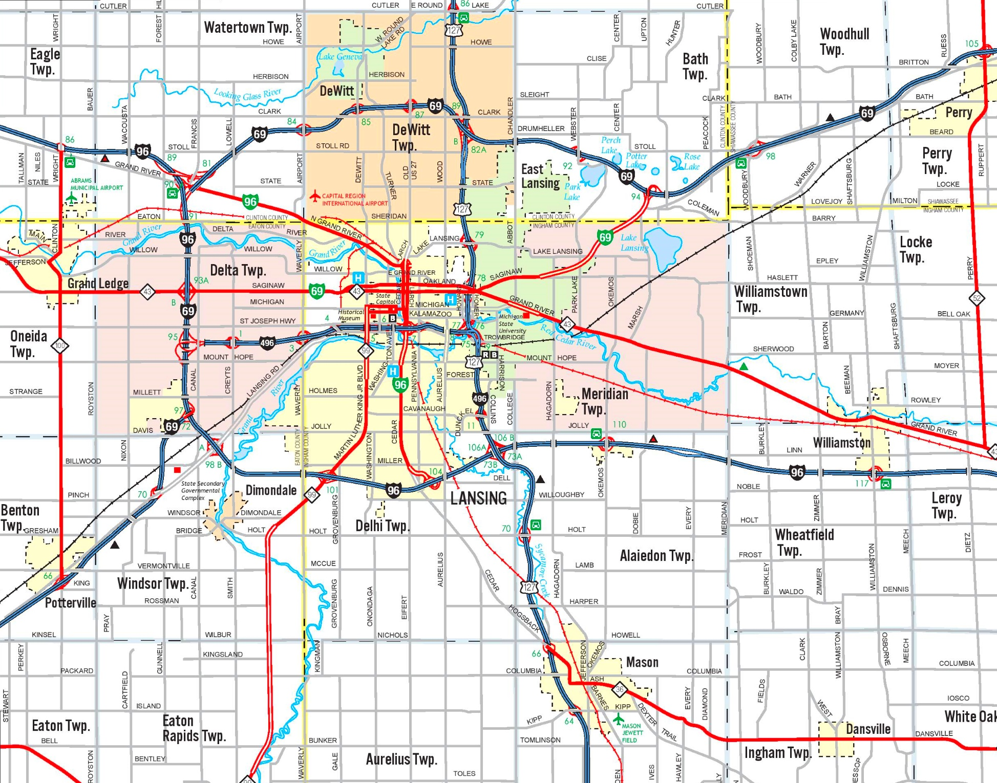 Lansing area road map