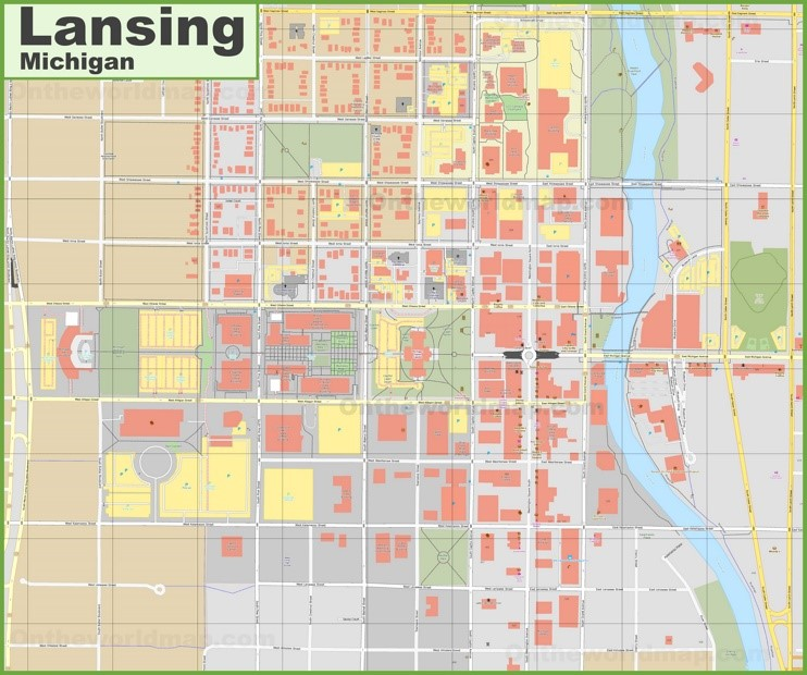 Lansing downtown map
