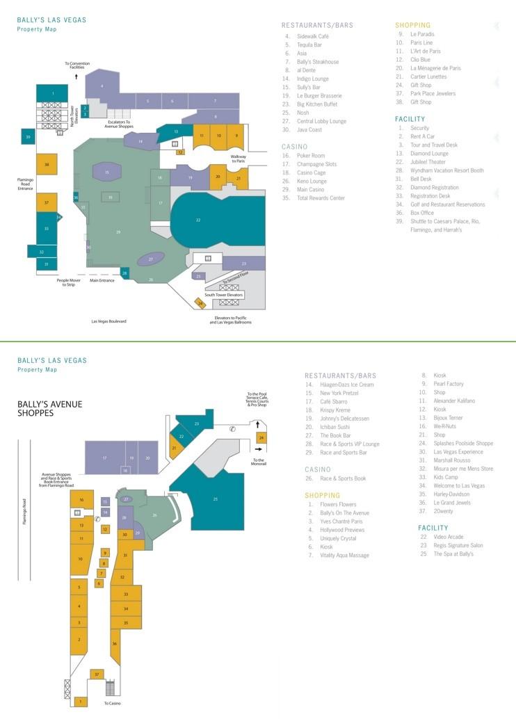 Las Vegas Ballys hotel map