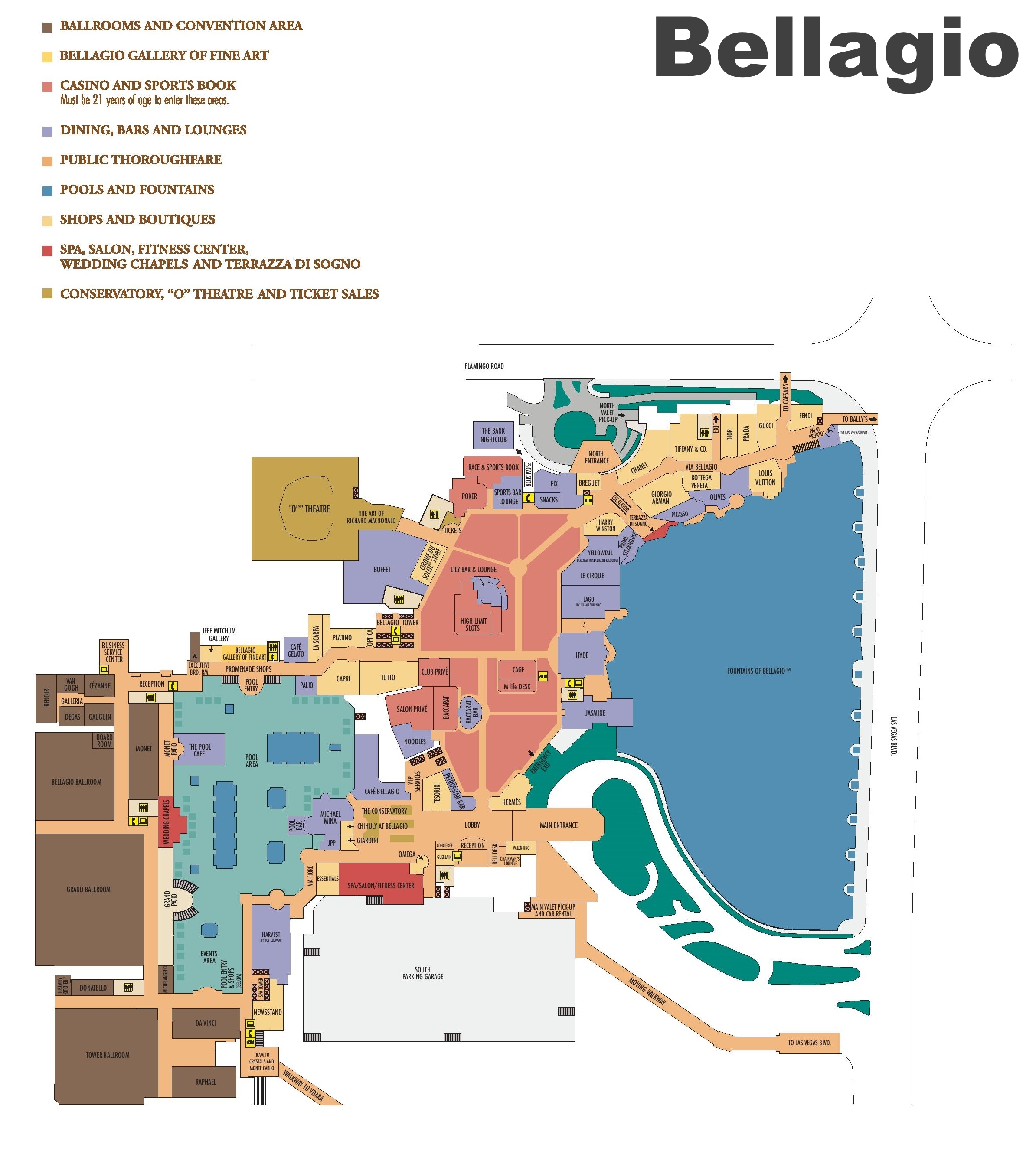 Las Vegas Bellagio Hotel Map - Las vegas map of hotels