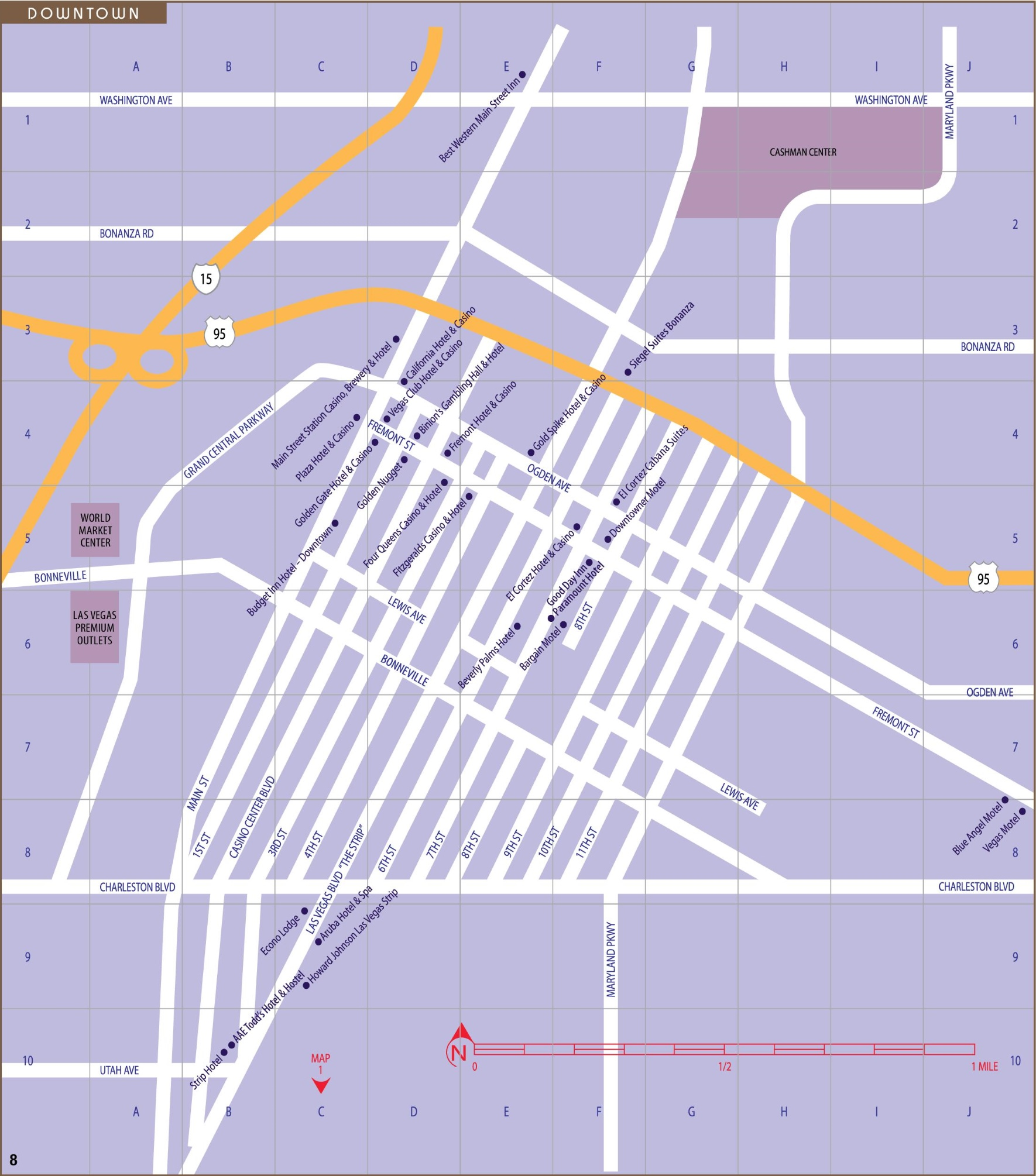 Fremont Street Map Las Vegas Downtown and Fremont street map