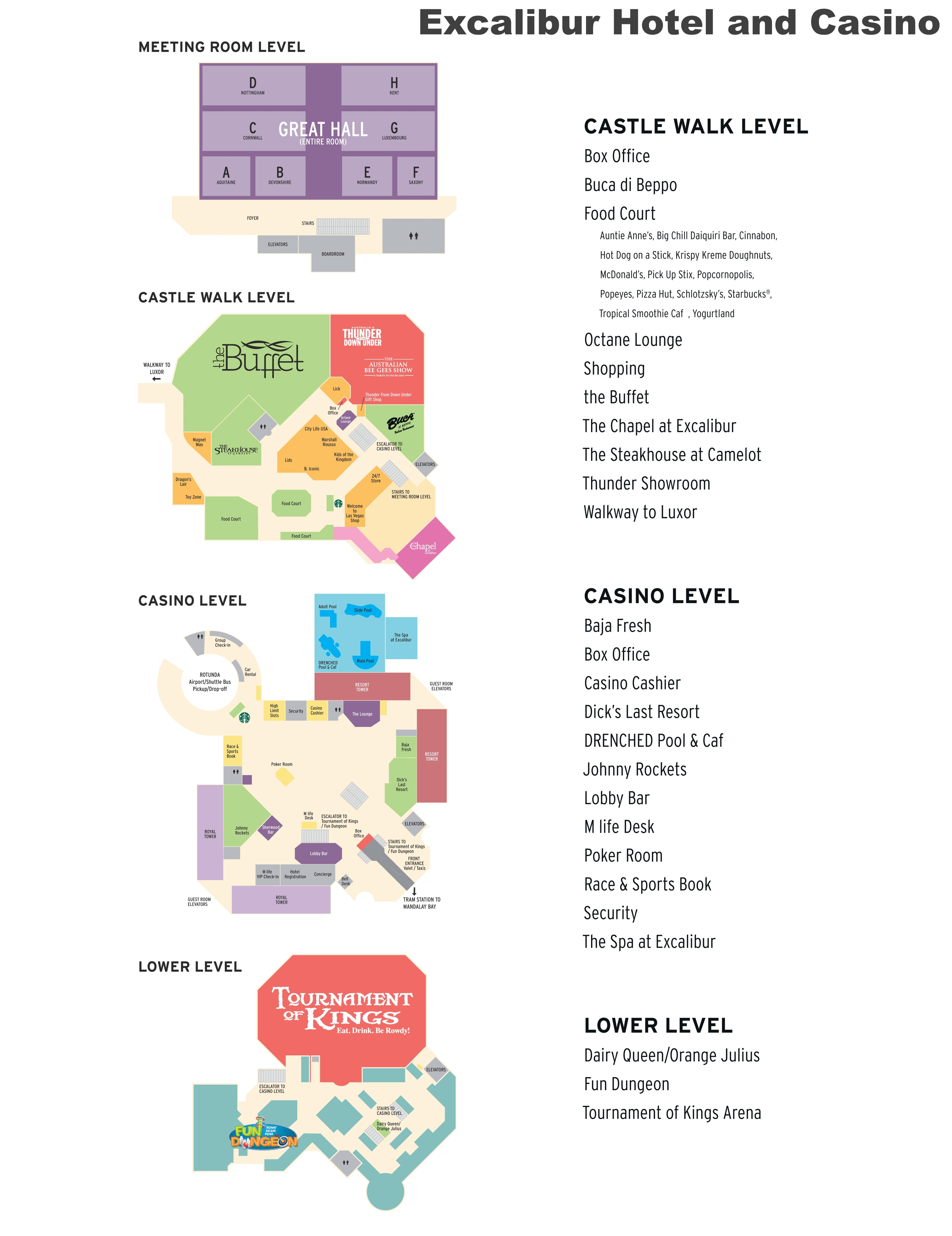 Las Vegas Excalibur hotel map