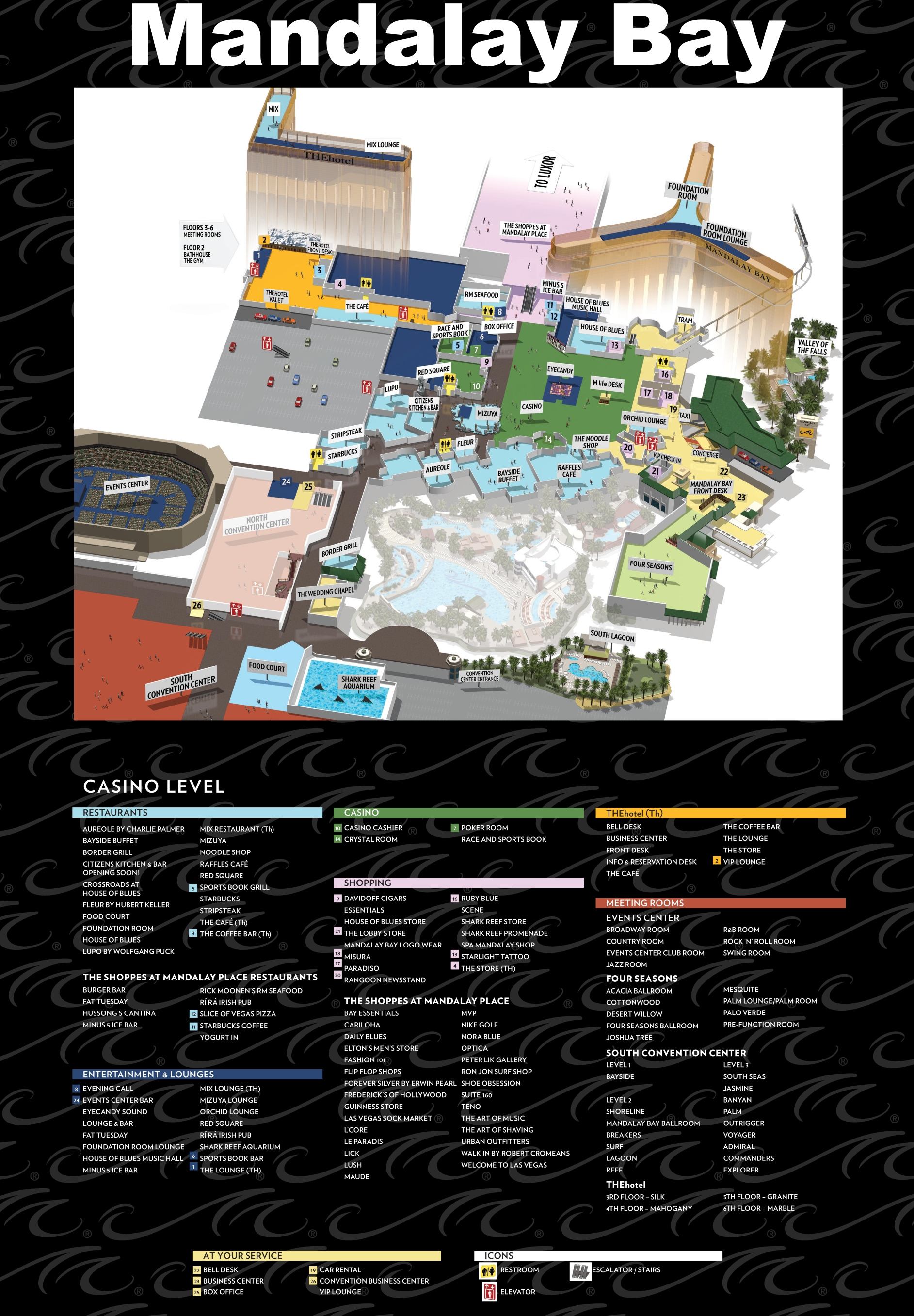 Mandalay Bay Map Las Vegas Mandalay Bay hotel map Mandalay Bay Map