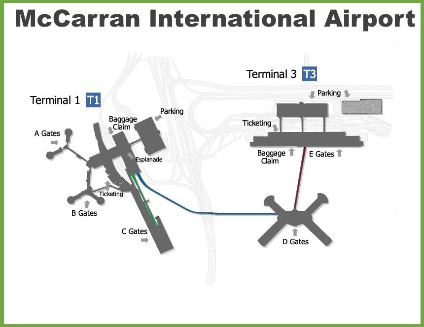 Mccarran International Airport Map Las Vegas McCarran International Airport map
