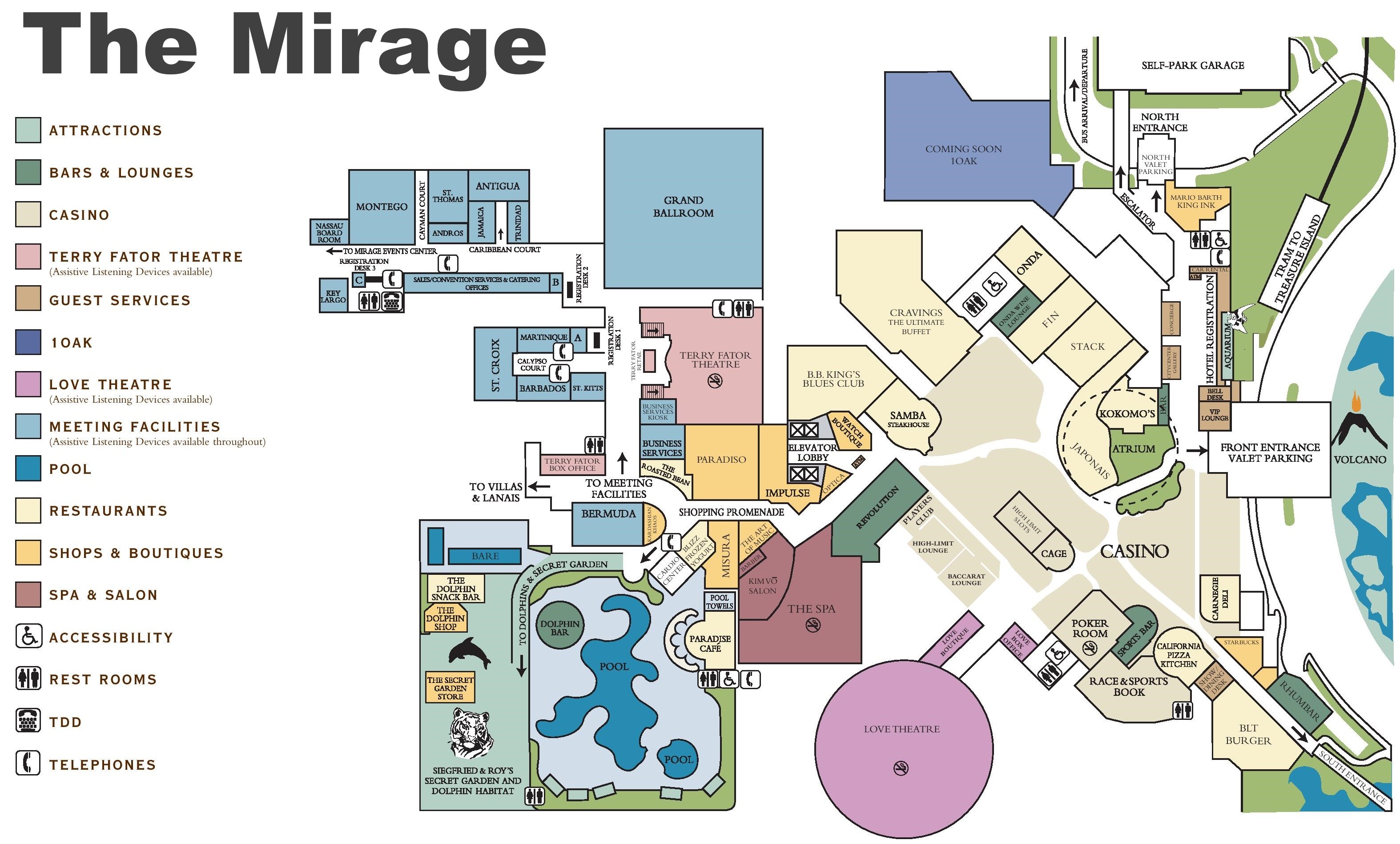 Las Vegas The Mirage Hotel Map - Las vegas map of hotels