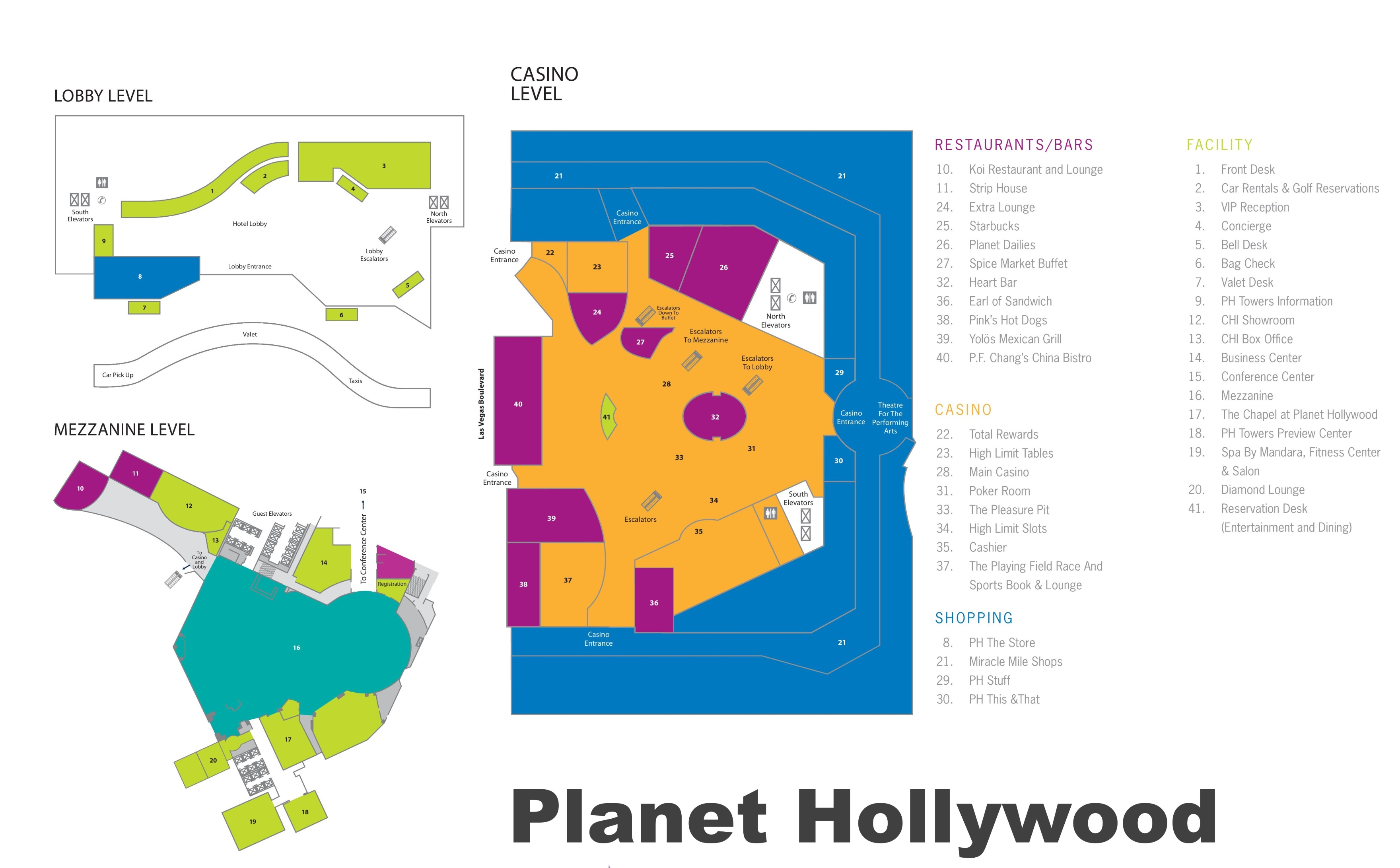 Las Vegas Planet Hollywood Hotel Map - Planet hollywood las vegas map