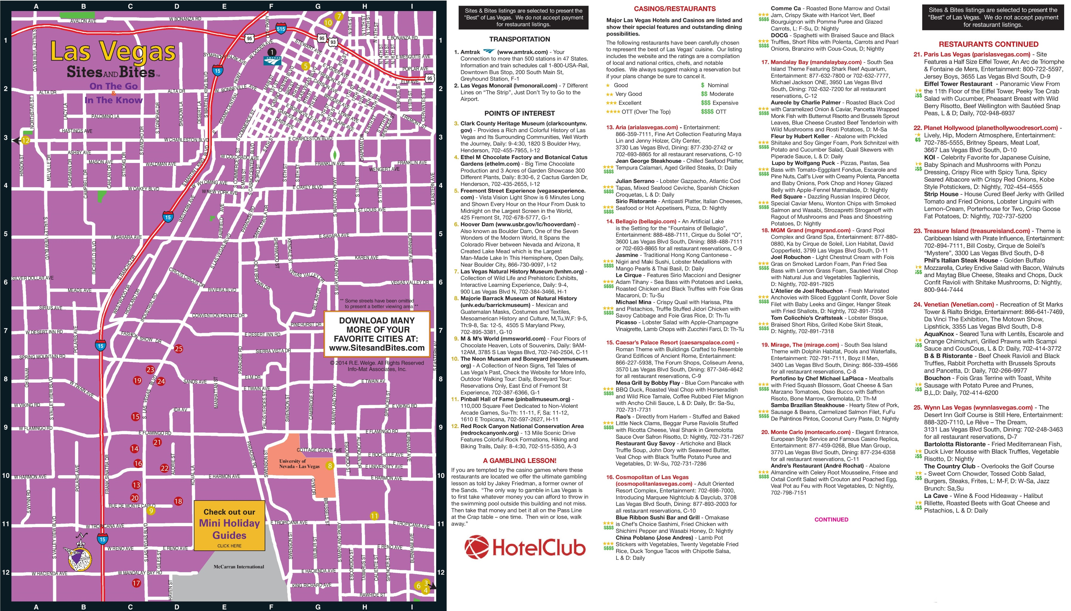 Las Vegas restaurants hotels and sightseeing map