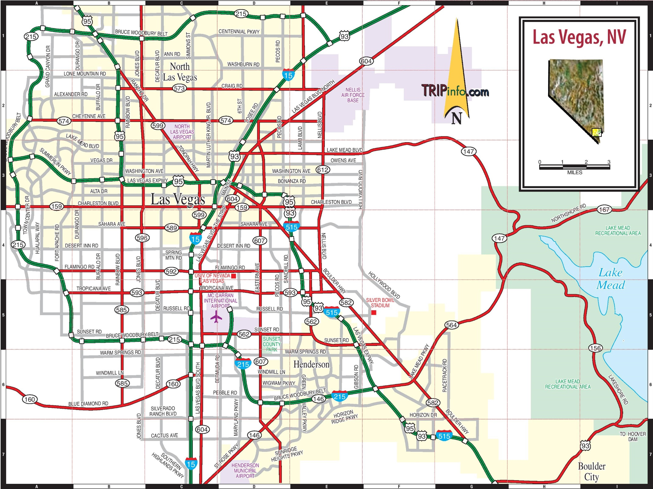 Las Vegas City Map Las Vegas road map Las Vegas City Map