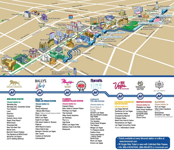 Las Vegas Strip Hotels and Casinos map