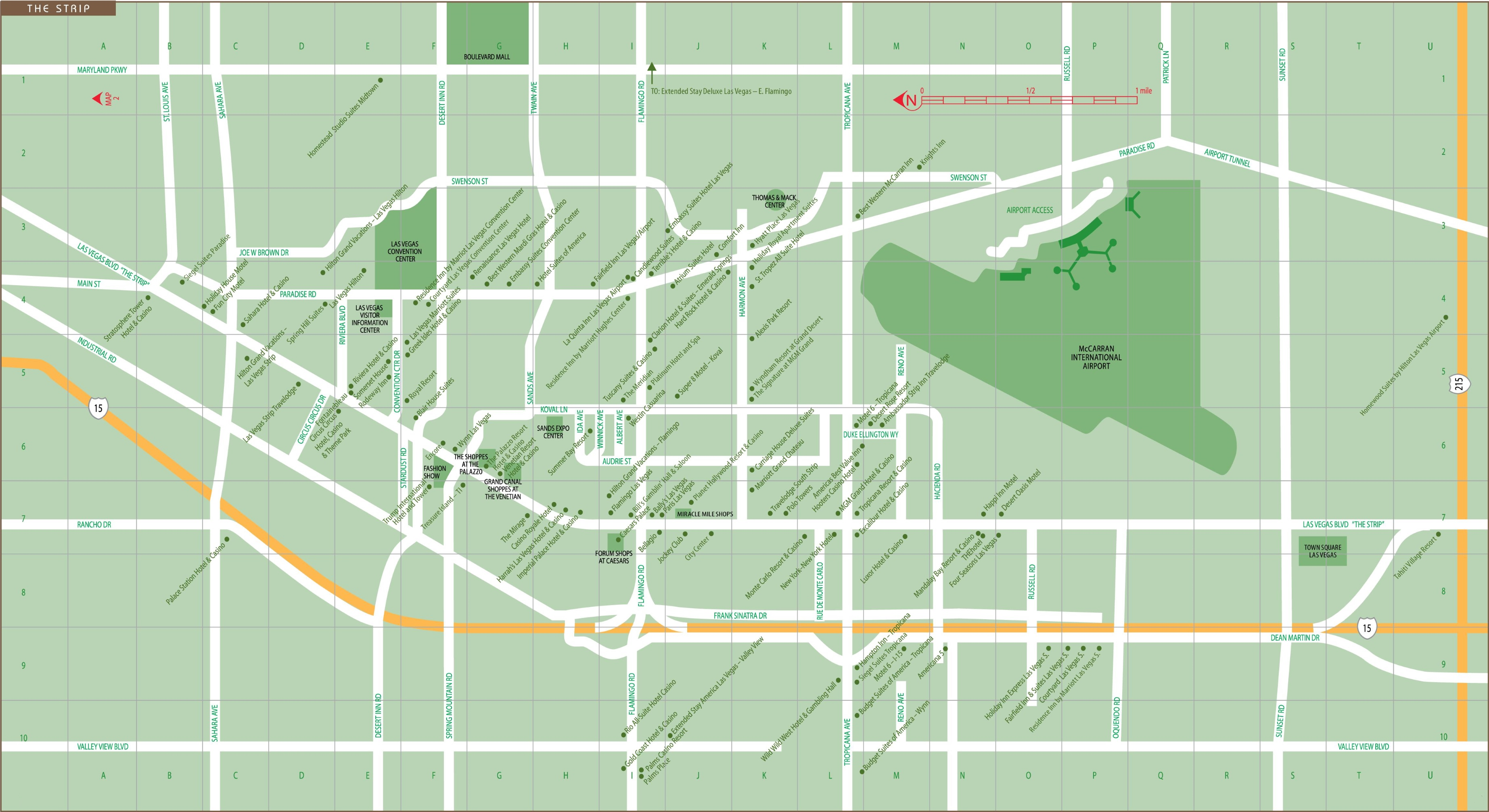 Las Vegas Strip map on