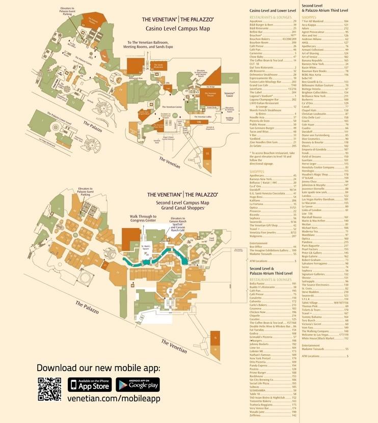 Las Vegas Venetian and Palazzo hotel map